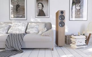AE 309 staande speaker afwerking in wallnut